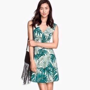 H&M Palm Leaf Print Skater Mini Dress Size Medium